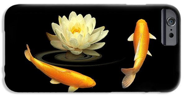 Recently Sold -  - Buddhism iPhone Cases - Circle Of Life - Koi Carp With Water Lily iPhone Case by Gill Billington