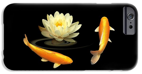 Flower Of Life iPhone Cases - Circle Of Life - Koi Carp With Water Lily iPhone Case by Gill Billington