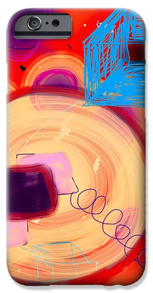 Ipad Art iPhone Cases - Circles and Boxes iPhone Case by Susan Stone