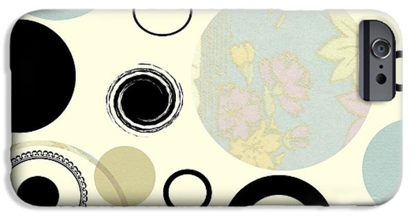 Multimedia iPhone Cases - Circles and Flowers iPhone Case by Tina M Wenger