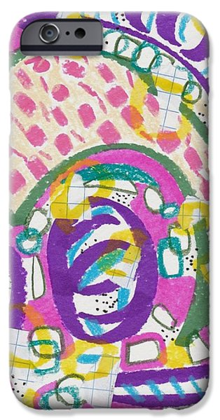 Abstract Collage Drawings iPhone Cases - Circles and Lines iPhone Case by Rosalina Bojadschijew