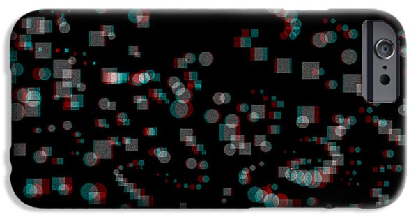 Digitally Created iPhone Cases - Circles and Squares - Use Red-Cyan 3D glasses iPhone Case by Brian Wallace