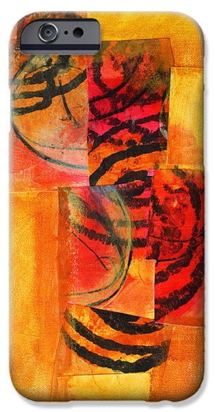 Tangerine Paintings iPhone Cases - Circles Squared iPhone Case by Nancy Merkle