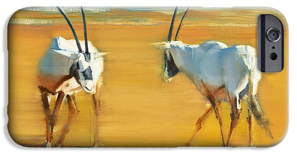 On Paper Paintings iPhone Cases - Circling Arabian Oryx iPhone Case by Mark Adlington