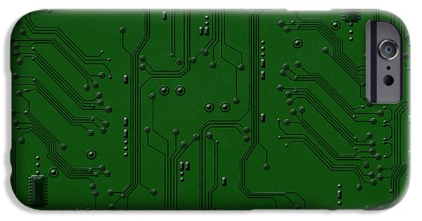 Component Pyrography iPhone Cases - Circuit Board iPhone Case by Bedros Awak