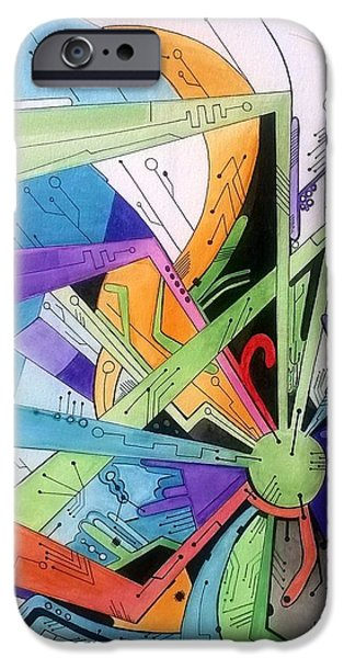 Circuit Paintings iPhone Cases - Circuits iPhone Case by Andrew Woodward
