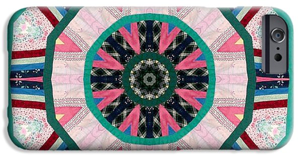 Block Quilts Tapestries - Textiles iPhone Cases - Circular Patchwork Art iPhone Case by Barbara Griffin