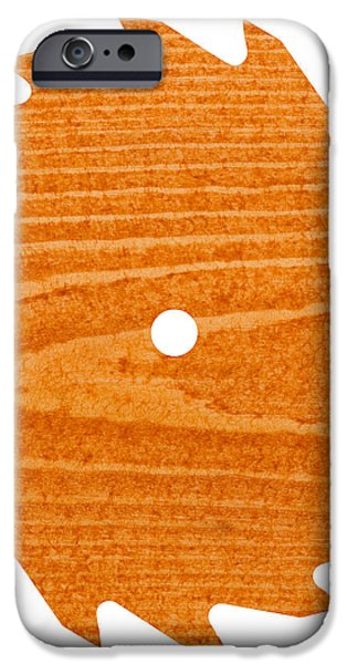 Circular saw blade with pine wood texture iPhone Case by Stephan Pietzko