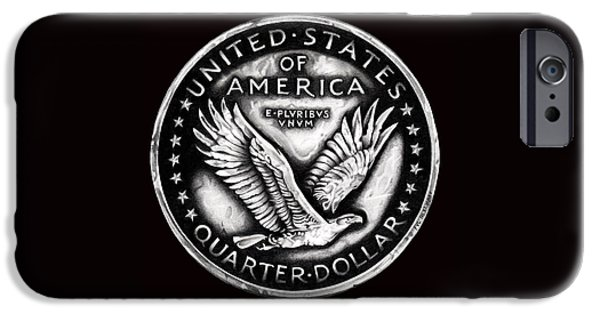 Coins Drawings iPhone Cases - Circulated Standing Liberty Reverse Black and White iPhone Case by Fred Larucci