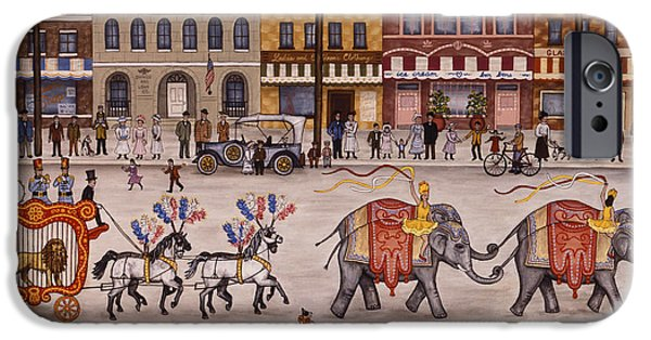 Store Fronts Paintings iPhone Cases - Circus Parade iPhone Case by Linda Mears