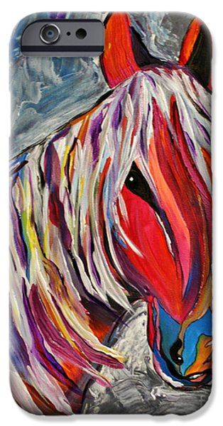 Concept Paintings iPhone Cases - Cisco Abstract Horse  iPhone Case by Janice Rae Pariza