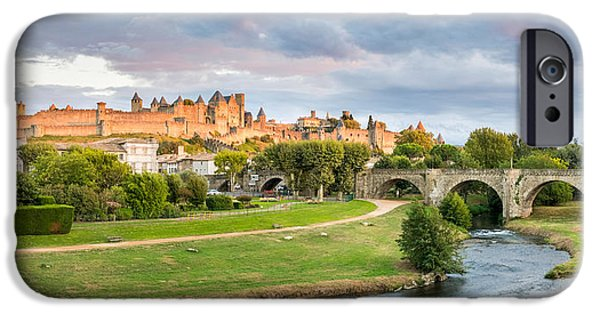 Languedoc iPhone Cases - Cite De Carcassonne Seen From Pont iPhone Case by Panoramic Images