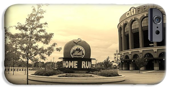 Shea Stadium iPhone Cases - CITI FIELD in SEPIA iPhone Case by Rob Hans