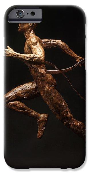 White Sculptures iPhone Cases - Citius Altius Fortius Runner over Black Olympic Art iPhone Case by Adam Long
