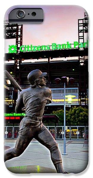 Citizens Bank Park iPhone Cases - Citizens Bank Park - Mike Schmidt Statue iPhone Case by Bill Cannon