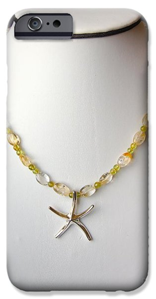 Summer Jewelry iPhone Cases - Citrine and Peridot Starfish Necklace iPhone Case by Megan Cohen