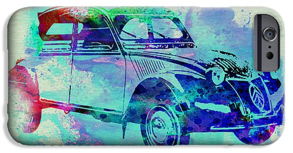 Automotive Drawings iPhone Cases - Citroen 2CV iPhone Case by Naxart Studio