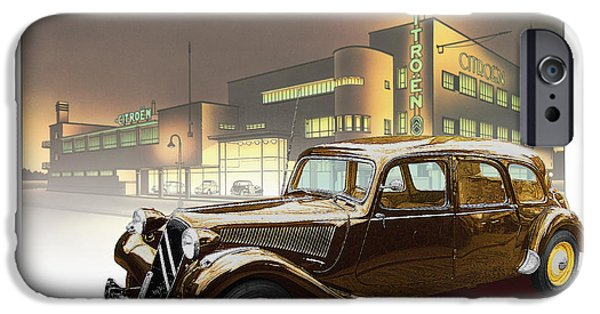 1950s Portraits Digital iPhone Cases - Citroen Traction Avant iPhone Case by Dan Knowler