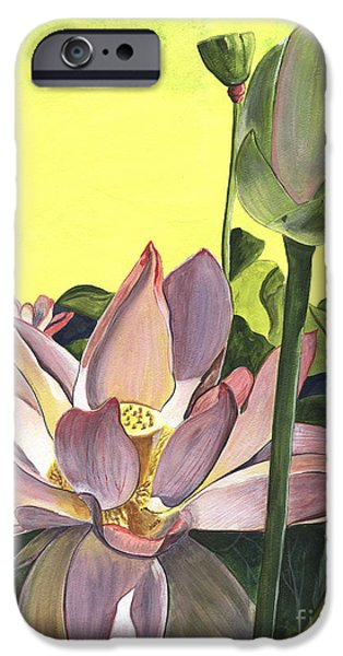 Cream iPhone Cases - Citron Lotus 2 iPhone Case by Debbie DeWitt