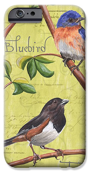 Texture Paintings iPhone Cases - Citron Songbirds 1 iPhone Case by Debbie DeWitt
