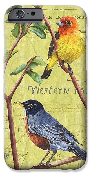 Texture Paintings iPhone Cases - Citron Songbirds 2 iPhone Case by Debbie DeWitt