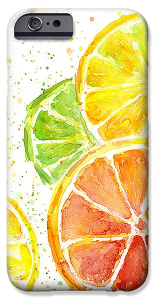 Food And Beverage Mixed Media iPhone Cases - Citrus Fruit Watercolor iPhone Case by Olga Shvartsur