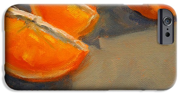 Tangerines Paintings iPhone Cases - Citrus Meetup iPhone Case by Nancy Merkle