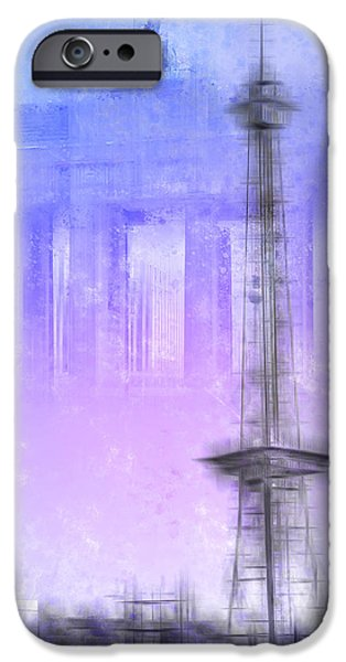 Facade Digital iPhone Cases - City-Art BERLIN Radio Tower and Brandenburg Gate blue/pink iPhone Case by Melanie Viola