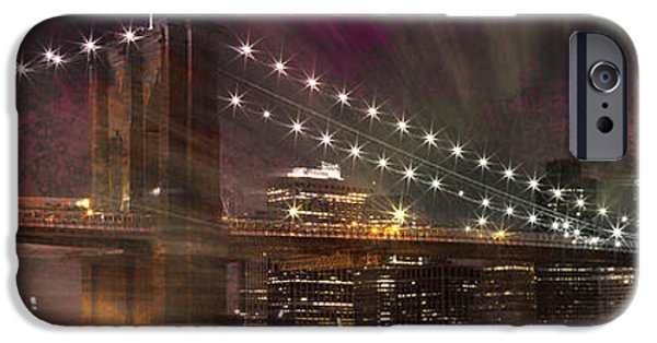 Brooklyn Bridge Digital Art iPhone Cases - City-Art BROOKLYN BRIDGE iPhone Case by Melanie Viola