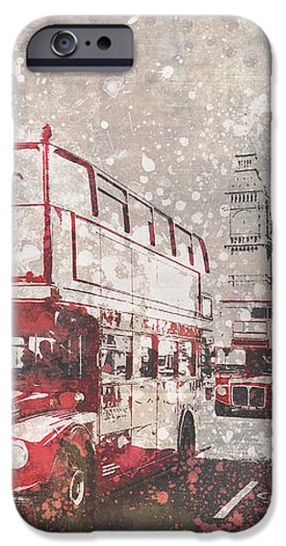 Facade Digital iPhone Cases - City-Art LONDON Red Buses II iPhone Case by Melanie Viola