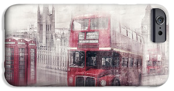 Big Ben iPhone Cases - City-Art LONDON Westminster Collage II iPhone Case by Melanie Viola