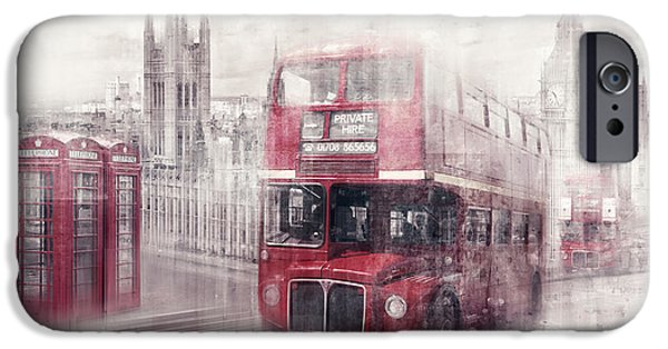 Decorative Digital Art iPhone Cases - City-Art LONDON Westminster Collage II iPhone Case by Melanie Viola