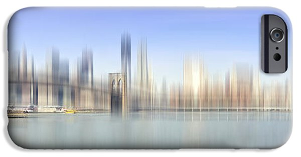 Modern Abstract iPhone Cases - City-Art MANHATTAN SKYLINE I iPhone Case by Melanie Viola