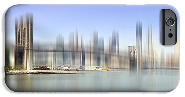 Brooklyn Bridge Digital Art iPhone Cases - City-Art MANHATTAN SKYLINE I iPhone Case by Melanie Viola