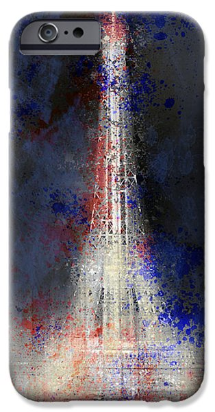 Abstract Digital Digital Art iPhone Cases - City-Art PARIS Eiffel Tower in National Colours iPhone Case by Melanie Viola