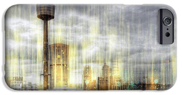 Business iPhone Cases - City-Art SYDNEY Rainfall iPhone Case by Melanie Viola