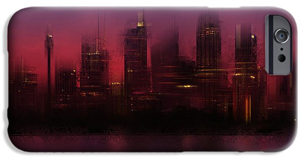 Business Digital iPhone Cases - City-Art SYDNEY Skyline iPhone Case by Melanie Viola