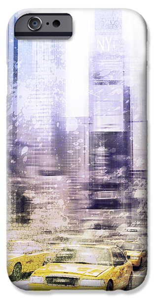 Abstract Digital Digital Art iPhone Cases - City-Art TIMES SQUARE I iPhone Case by Melanie Viola