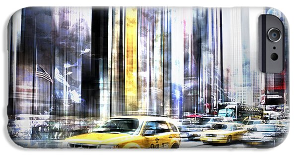 7th iPhone Cases - City-Art TIMES SQUARE II iPhone Case by Melanie Viola
