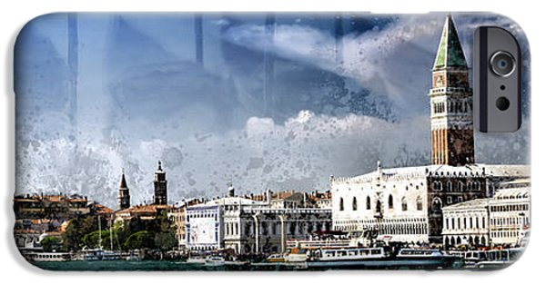 Abstract Digital iPhone Cases - City-Art VENICE Panoramic iPhone Case by Melanie Viola