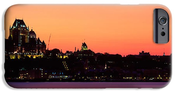 Levis iPhone Cases - City At Dusk, Chateau Frontenac Hotel iPhone Case by Panoramic Images