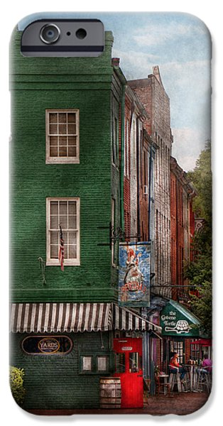 Store Fronts iPhone Cases - City - Baltimore - Fells Point MD - Berthas and The Greene Turtle  iPhone Case by Mike Savad