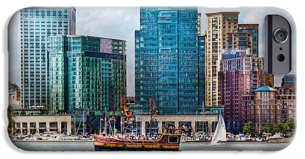 Sailboats iPhone Cases - City - Baltimore MD - Harbor east  iPhone Case by Mike Savad