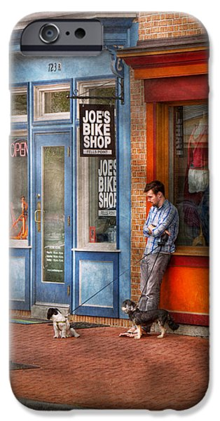 City - Baltimore MD - Waiting by Joe's bike shop  iPhone Case by Mike Savad