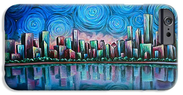 Willis Tower Paintings iPhone Cases - City By Starlight iPhone Case by Jim Figora