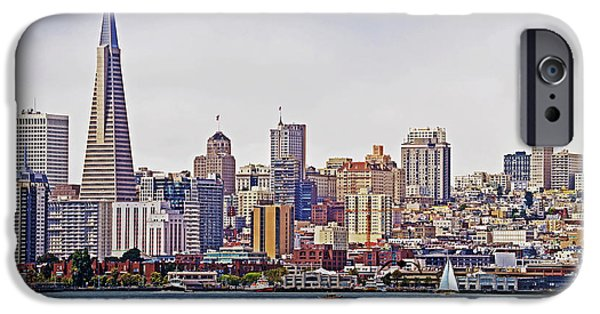 Buildings By The Ocean iPhone Cases - City By The Bay iPhone Case by Sindi June Short
