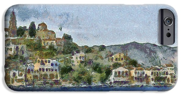 River View Drawings iPhone Cases - City by the Sea iPhone Case by Ayse Deniz