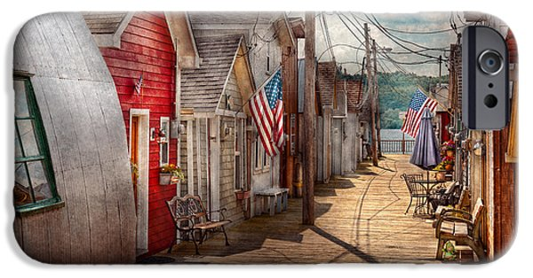 Walk Paths iPhone Cases - City - Canandaigua NY - Shanty town  iPhone Case by Mike Savad