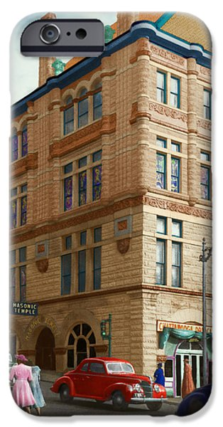 City - Chattanooga TN - 1943 - The Masonic Temple iPhone Case by Mike Savad