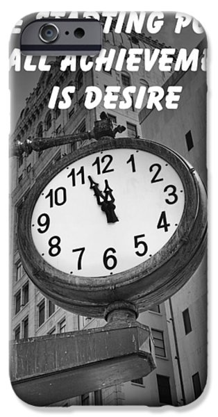 New Attitudes iPhone Cases - City Clock quote-1 iPhone Case by Rudy Umans